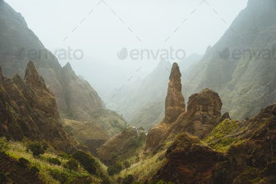 Picturesque canyon Ribeira da Torre covered with sand dust brought from Sahara. sugarcane, coffee