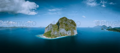 El Nido, Palawan, Philippines. Aerial drone panoramic picture of Pinagbuyutan Island from the