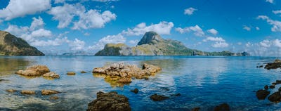 Amazing panorama view of El Nido bay and Cadlao island at low tide, wonderful unique nature of