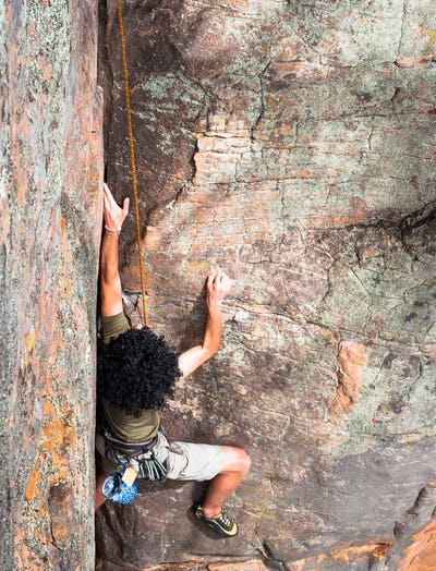 Rock Climber with Large Afro
