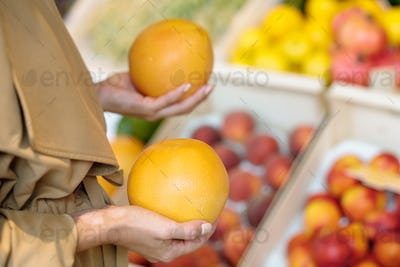 Hands of young female buyer holding fresh ripe yellow grapefruits