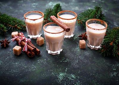 Christmas cocktail eggnog with cinnamon