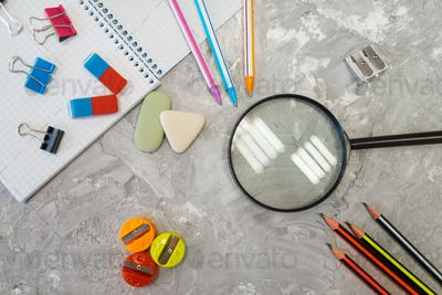 Office supplies, magnifier in stationery store