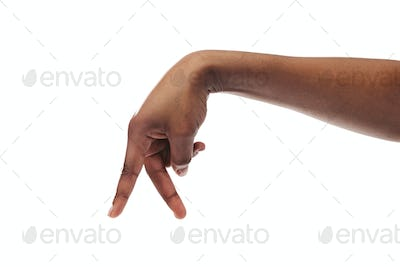 Black woman hand walking with fingers isolated on white background