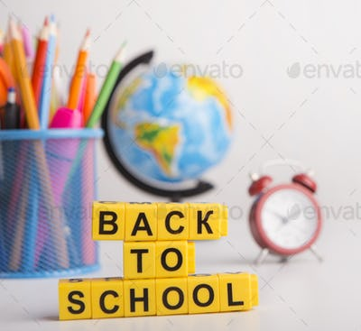 Close up of back to school concept on background