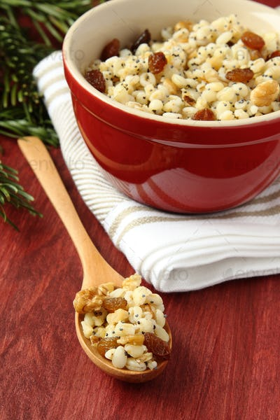 Spoon with kutia - traditional Christmas sweet meal