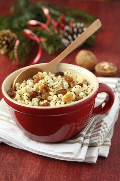 Pot with kutia - traditional Christmas sweet meal