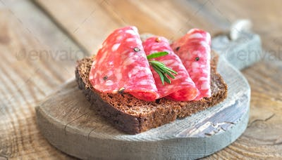 Sandwich with salami on the wooden board