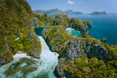 El Nido, Palawan, Philippines. Aerial view of beautiful big lagoon surrounded by karst limestone
