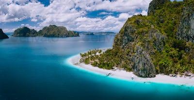 El Nido, Palawan, Philippines. Aerial drone shot of Ipil beach located on Pinagbuyutan Island