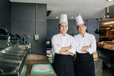 Two colleagues working in the kitchen