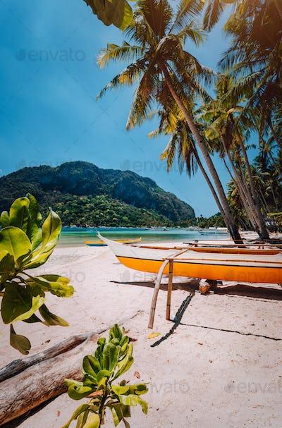 Banca boats under palm trees on sandy beach in Corong corong, El Nido, Palawan, Philippines
