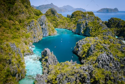El Nido, Palawan, Philippines. Aerial drone view of beautiful big lagoon surrounded by karst