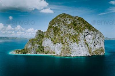 El Nido, Palawan, Philippines. Pinagbuyutan Island from aerial drone perspective
