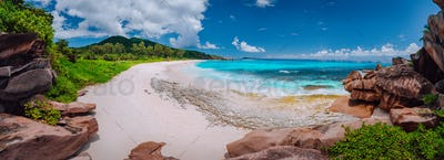 Panoramic view of most spectacular tropical beach Grande Anse on La Digue Island, Seychelles