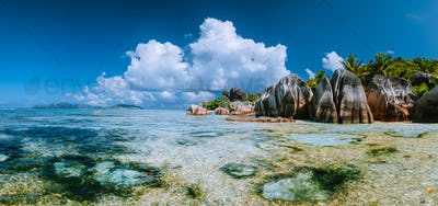 Famous Anse Source d'Argent Paradise beach on island La Digue in Seychelles. Most spectacular