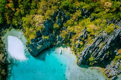 Marine Reserve El Nido Palawan Philippines, aerial view of tropical paradise turquoise lagoon and