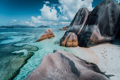 Granite rocks boulders at the best-known Anse Source d'Argent beach on island La Digue in