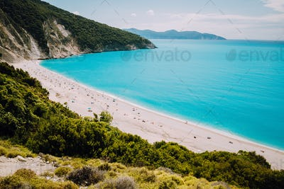 Famous Myrtos Beach. Must see visiting tourism location on Kefalonia Greece