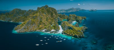 Palawan, Philippines aerial panorama natural scenery of tropical Miniloc island with Big and Small