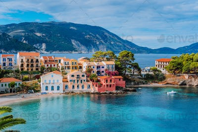 Beautiful panoramic view of Assos village with vivid colorful houses near blue turquoise colored and