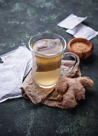 Ginger root and tea bags.