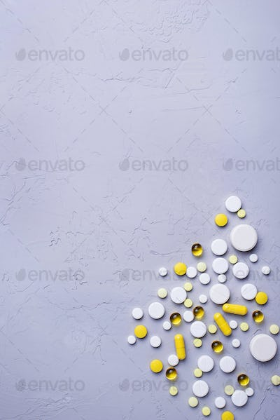 Different pills, tablets and capsules. Assorted of medicines