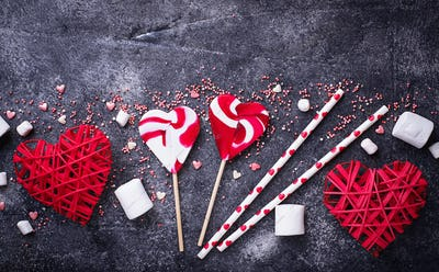 Valentine's Day background with hearts and sweets