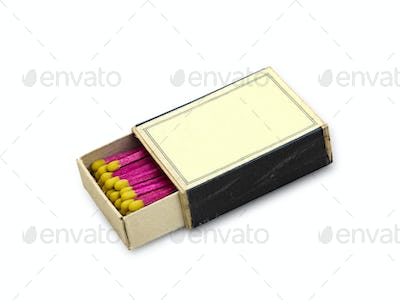 Old open Matchbox isolated