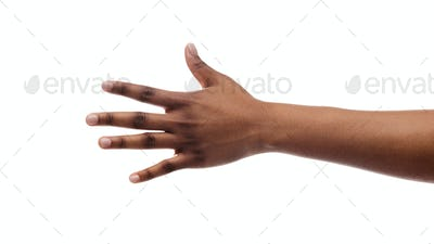 Female hand showing number five with fingers on white background