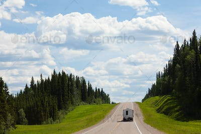 RV drives Alcan south Fort Nelson BC Canada