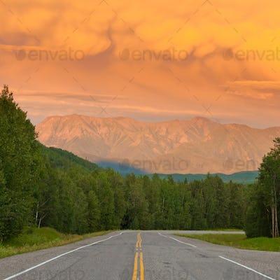 Liard River valley Alaska Highway BC Canada sunset