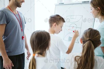 Boy planning the tactic