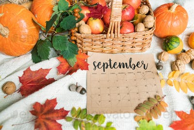 September background with ripe apples and pumpkins, walnuts, acorns and leaves