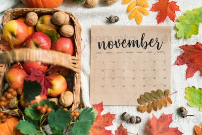 Calendar list of November with ripe apples, walnuts, acorns and colorful leaves