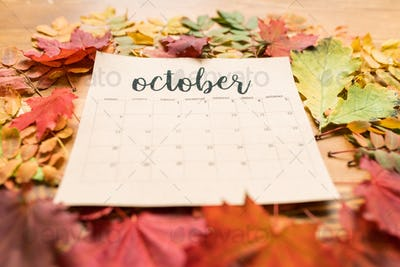 Autumn composition consisting of paper sheet of October calendar and leaves