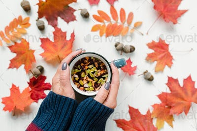 Female hands holding tea over table with red maple and rowan leaves and acorns