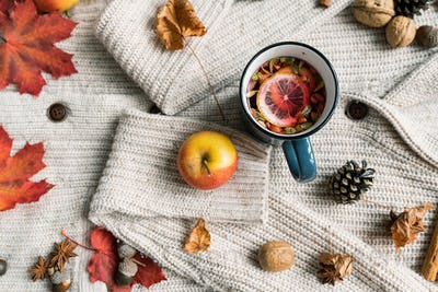 Ripe apple, mug of hot herbal tea with lemon, dry leaves, cone, nuts and spice