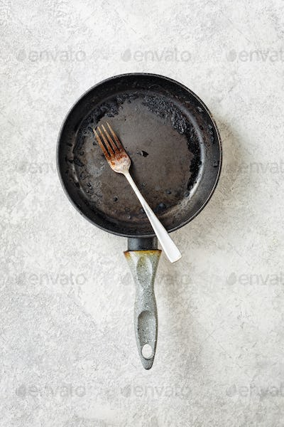 Burnt frying pan and fork