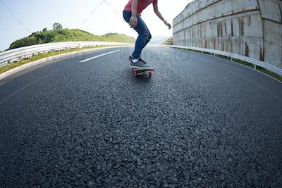 Skateboarding on highway