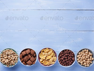 Selection of various corn flakes for breakfast