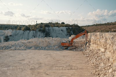 Heavy machinery in quarry