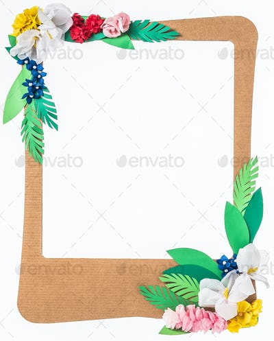 Colorful paper flower frame