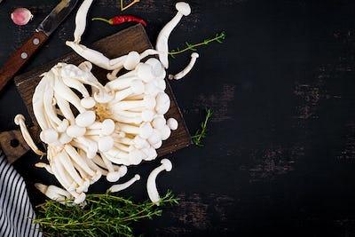 Raw mushrooms. Shimeji mushroom. Enokitake. Asian cuisine.  Top view