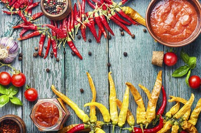 Spicy chili sauce or ketchup