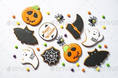 Halloween food bakground -Gingerbread Cookies on white table
