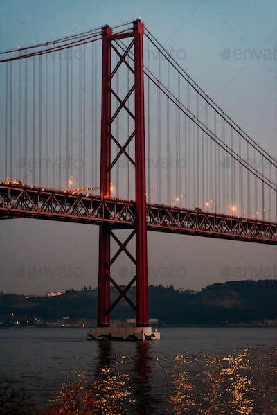 25 april bridge landscape in Lisbon, Portugal