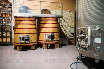 Vintage winery with big wooden barrels