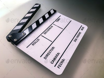 White blank clapperboard on set