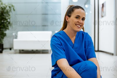 Female dentist at work